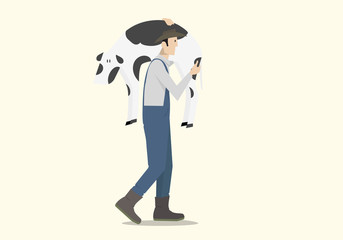 Farmer Carrying a Veal