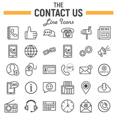 Contact us line icon set, web button signs