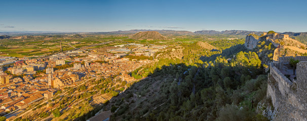 Sunset Panorama of Xativa town and Castle in Valencia Province of Spain