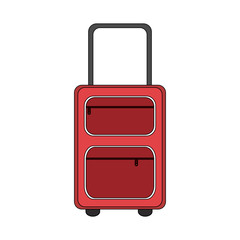 color image cartoon travel suitcase with handle vector illustration