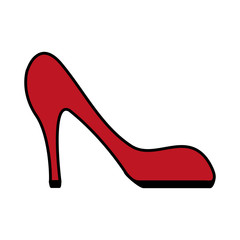 color image cartoon red high heels shoes vector illustration