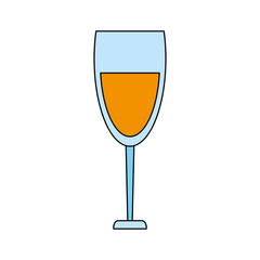 color image cartoon glass cup with wine vector illustration