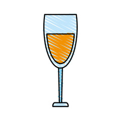 color crayon stripe cartoon glass cup with wine vector illustration