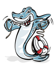 Hai mit Rettungsring - Seil als Zahnseide