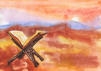 Hand drawn background of koran, sunset, desert and mountain. Watercolor illustration of ramadan kareem and ramadan mubarak. Painting muslim illustration