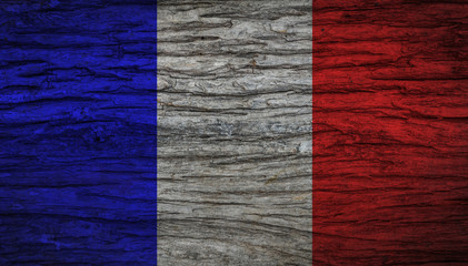 Grunge vintage France flag with old wooden texture for background. Concept memorial of international. Vintage and grunge style.