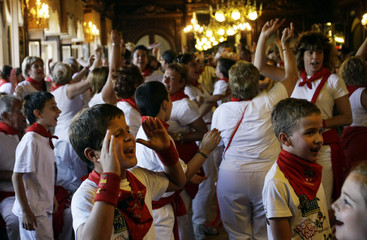 Revellers dance at Pamplona's casino after the third day of the running of the bulls during the San Fermin festival in Pamplona