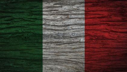 Grunge vintage Italy flag with old wooden texture for background. Concept memorial of international. Vintage and grunge style.