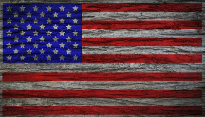 Grunge vintage USA flag with old wooden texture for background. Concept memorial of international. Vintage and grunge style.
