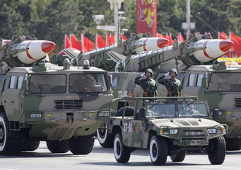 Missiles are displayed in a parade to celebrate the 60th anniversary of the founding of the People's Republic of China, in Beijing