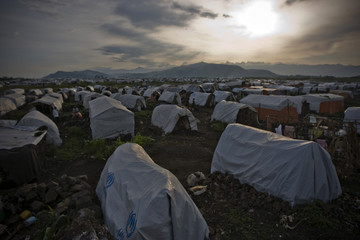 View of Bulengo camp for war-displaced people just outside Goma in eastern Congo