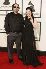 Evanescence lead singer Lee and guitarist Balsamo arrive at the 50th Annual Grammy Awards in Los Angeles