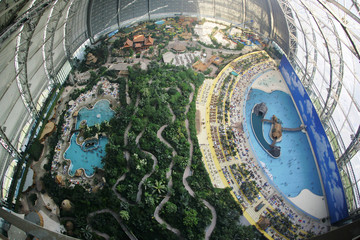 A panoramic view of an airship hangar hosting a Tropical Islands holiday resort near the eastern German village of Brand