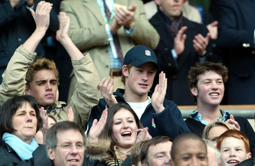 BRITAIN'S PRINCE HARRY APPLAUDS DURING ENGLAND'S SIX NATIONS RUGBYUNION MATCH AGAINST ITALY AT TWICKENHAM.