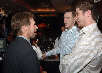 Producer Bruckheimer speaks to NHL players at a pre-screening cocktail reception in Washington