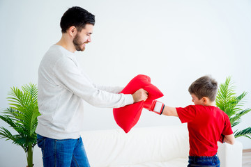 Father and son boxing