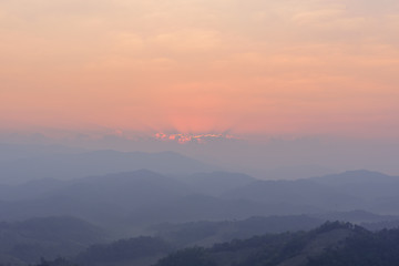 Dimly light of the morning sun  at Doi Hua Mod , Umphang district, Tak province, Thailand