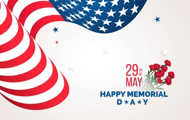 Happy Memorial Day  flyer, banner or poster. Holiday background with waving flag and flowers. Vector illustration
