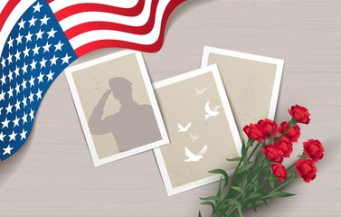 Happy Memorial Day  flyer, banner or poster. Holiday background with waving flag, photos and flowers. Vector illustration