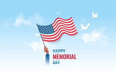Happy Memorial Day  flyer, banner or poster. Holiday background with waving flag and pigeons. Vector illustration