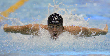Ruprath swims in the 100 metre butterfly at the German swimming championship in Berlin