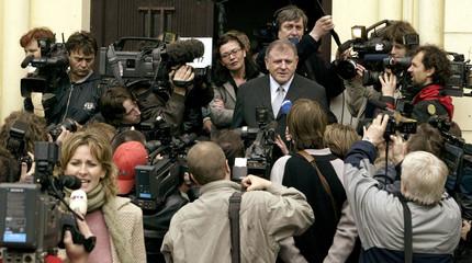 FORMER SLOVAK PM VLADIMIR MECIAR SPEAKS TO MEDIA during election.