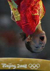 Cheng Fei of China competes on the vault in the women's team artistic gymnastics final at the Beijing 2008 Olympic Games