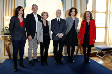 French Culture Minister Audrey Azoulay and Cannes Film festival general delegate Thierry Fremaux pose with guests during a reception before the 70th Cannes Film Festival at the Culture ministry in Paris