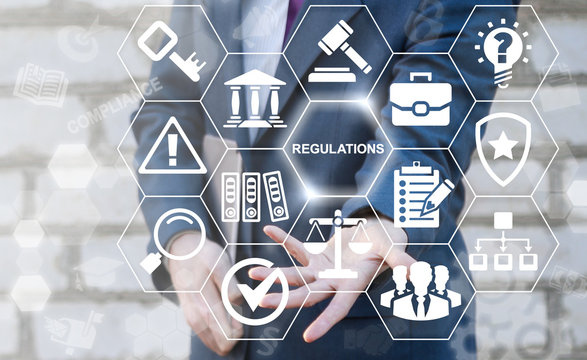 Regulations Compliance Rules Law Standard Business Concept. Businessman offers regulation text icon on virtual screen. Justice security people web network judicial internet technology. Judge service.