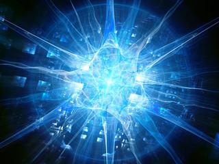 Futuristic blue glowing human neuron with chip, futuristic biotechnology