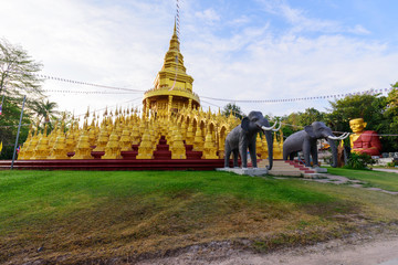 Golden pagoda in WatPaSawangBun Temple