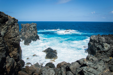 Cliffs of Las Palmas de Gran Canaria, Canary Islands, Spain, Atlantic Ocean - Stock Photo