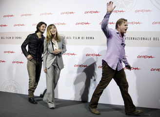 "Director Elliot, actor Barnes and actress Biel leave at the end of their photo call for the movie ""Easy Virtue"" at Rome Film Festival"