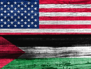 The wooden surface. Flags: United States. Palestine