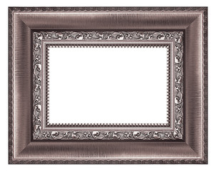 Purple, vintage picture and photo frame isolated on white background