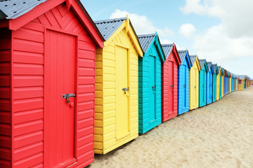 Beach huts or bathing boxes on the beach