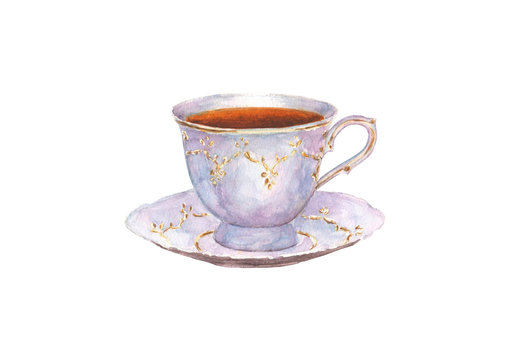 Watercolor porcelain cup of tea and saucer isolated on white background