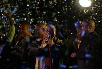 African National Congress president Jacob Zuma celebrates  in Johannesburg