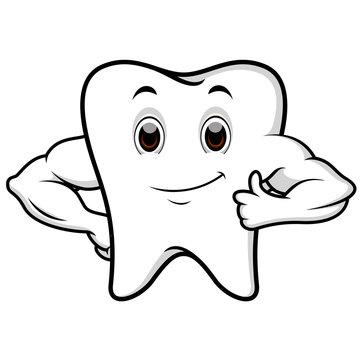 Strong tooth cartoon