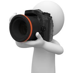 weisses 3d Mönnchen mit Kamera beim fotografieren
