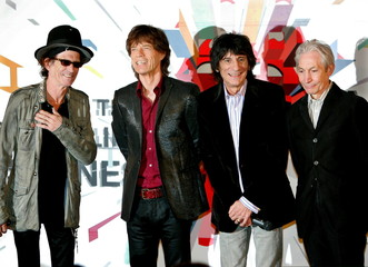 The Rolling Stones members (from L to R) Keith Richards, Mick Jagger, Ron Wood and Charlie Watts pos..