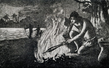 Stone Age man baking fish