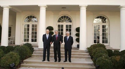 U.S. President Bush and Middle East leaders in the Rose Garden of the White House in Washington