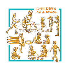 Boys and girls. Little children sitting, walking and playing a sandy beach on a sunny day. Set of cartoon vector illustrations.