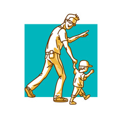 Father and son. Dad with eyeglasses and little baby with cap walking. Man pointing with finger direction for motion. Cartoon vector illustration.