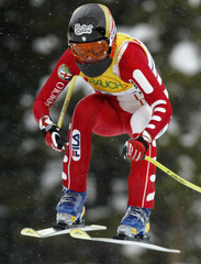 ITALYS ISOLDE KOSTNER TAKESD AIR DURING WOMENS WORLD CUP DOWNHILL.