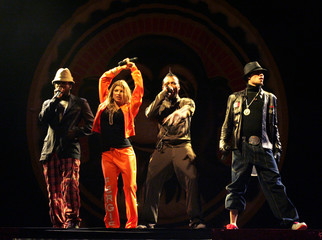U.S hip hop group Black Eyed Peas perform during a concert in Taipei