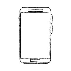 blurred silhouette image smartphone tech device vector illustration