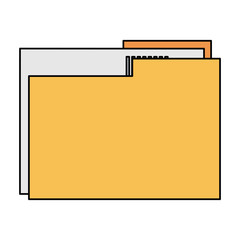 color image documents folder with sheet vector illustration