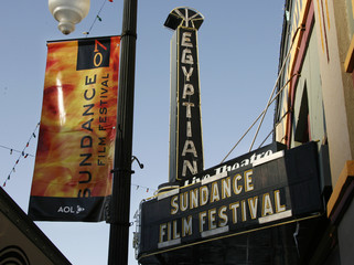 Banner promotes Sundance Film Festival which begins January 18 in Park City, Utah